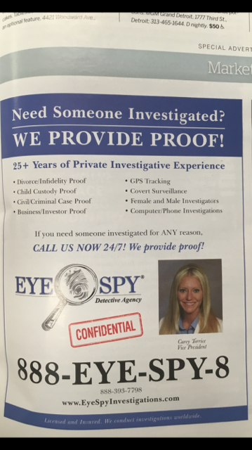 Hour Detroit Magazine Eye Spy Detective Agency Michigan Detroit Private Investigators